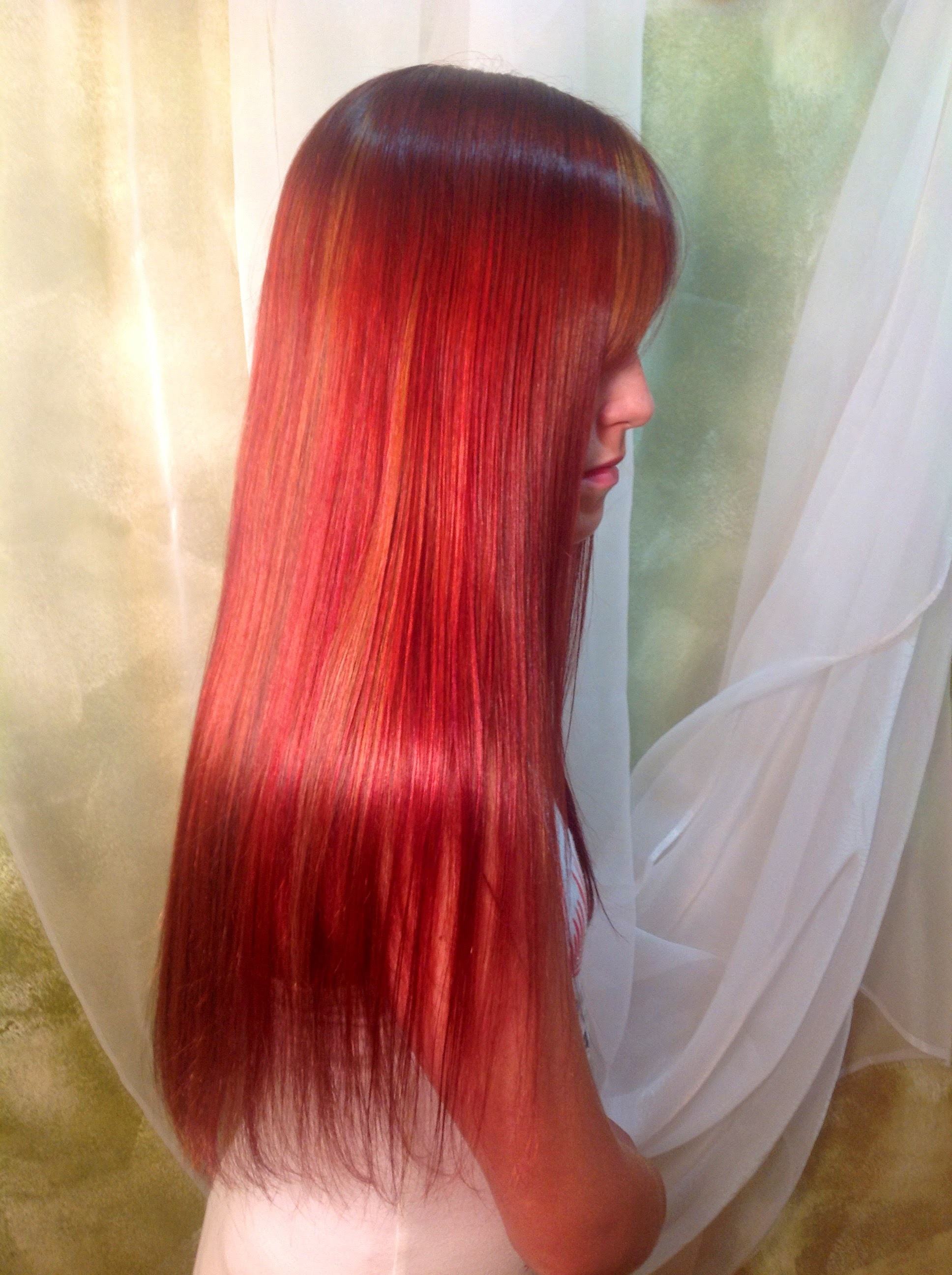 Straight permanent hair -  Long Straight Red Hair